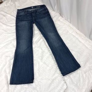 Medium Wash 'A' Pocket Flip Flop Flare Leg Jeans
